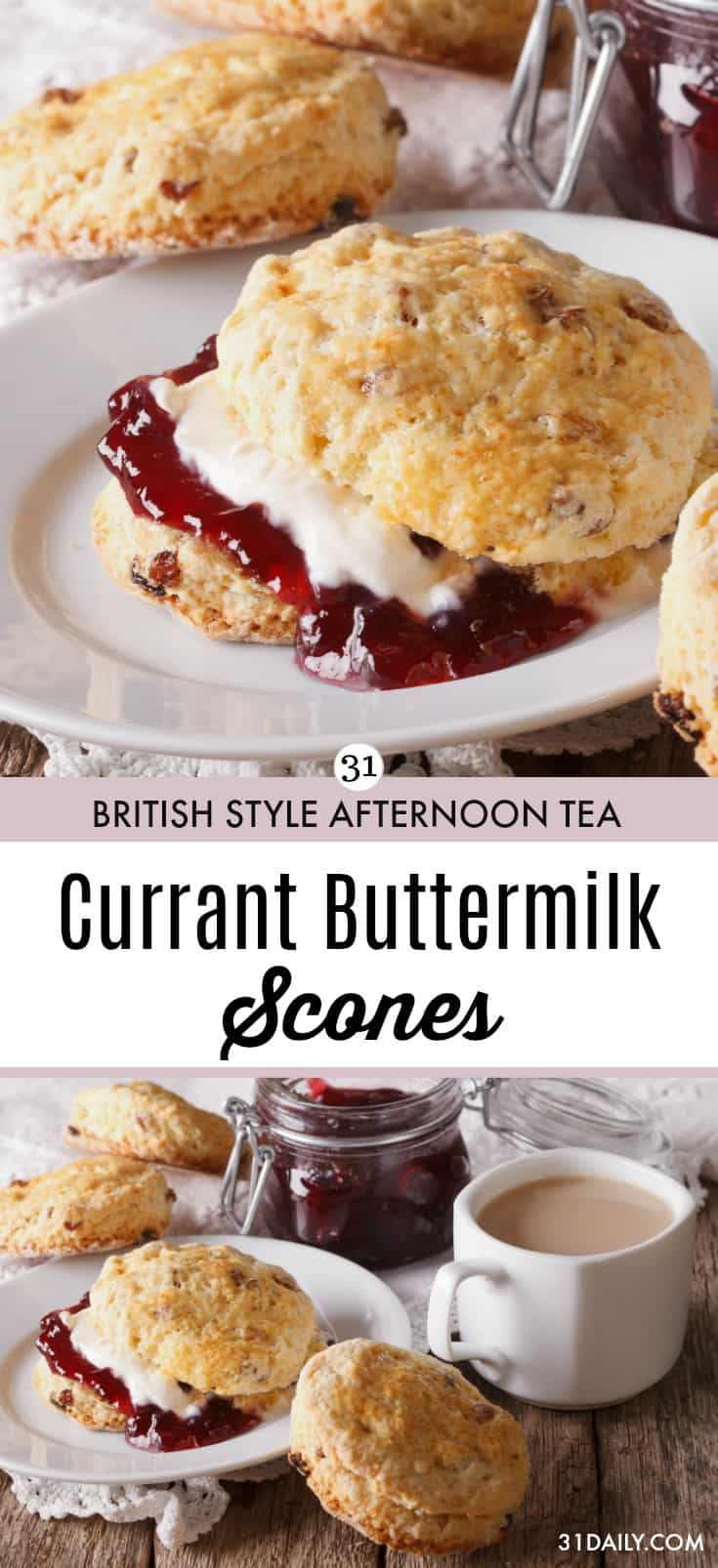 Simple and Easy Currant Buttermilk Scones Recipe at 31Daily.com