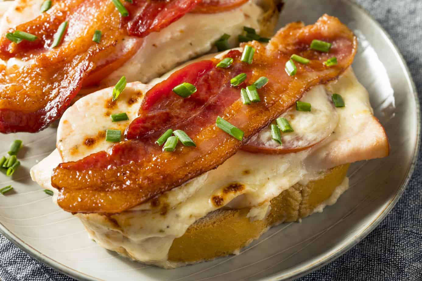 Closeup view of a Kentucky Hot Brown Sandwich