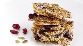 Microwave Spiced Cranberry Pumpkin Seed Brittle