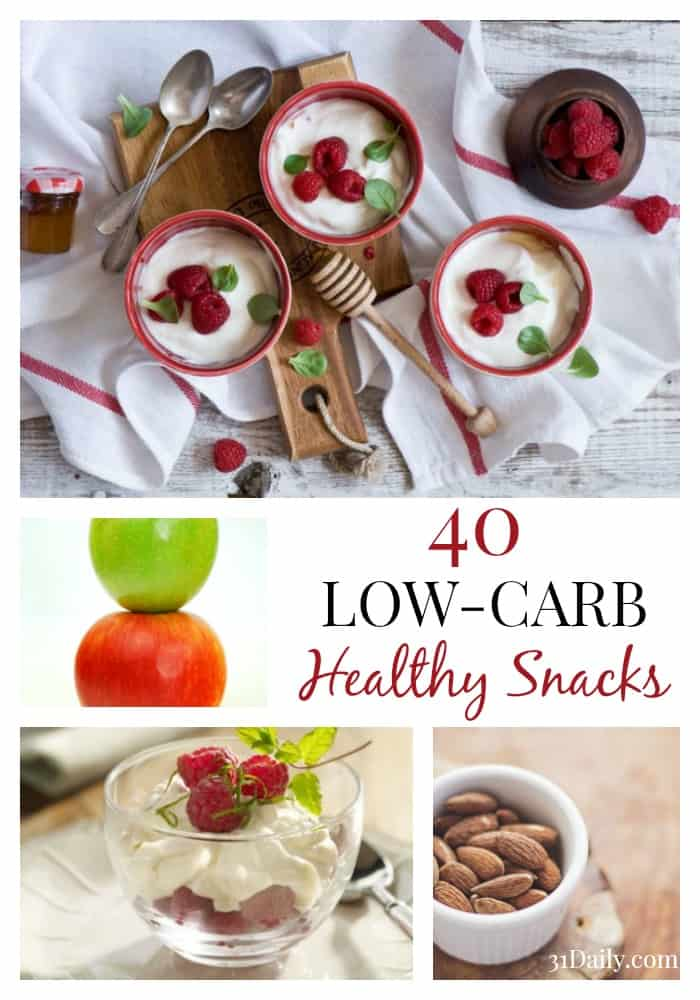 40 Low-Carb Healthy Snacks for Health, Weight Loss and Workouts at 31Daily.com.