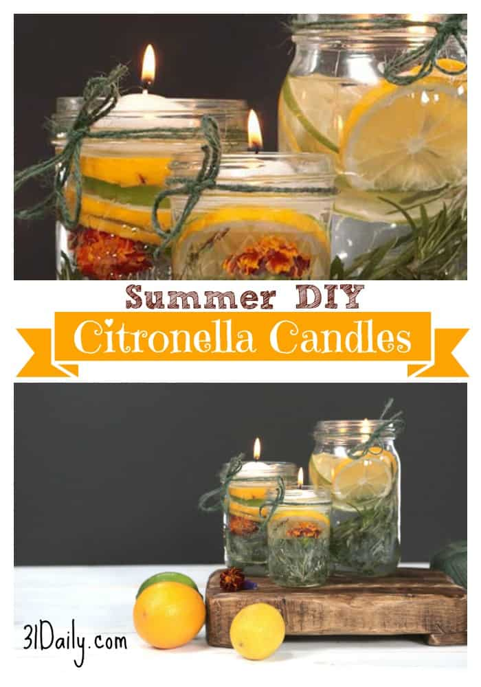 Summer Citronella Candles: An easy DIY Summer craft that is both practical and pretty. 31Daily.com