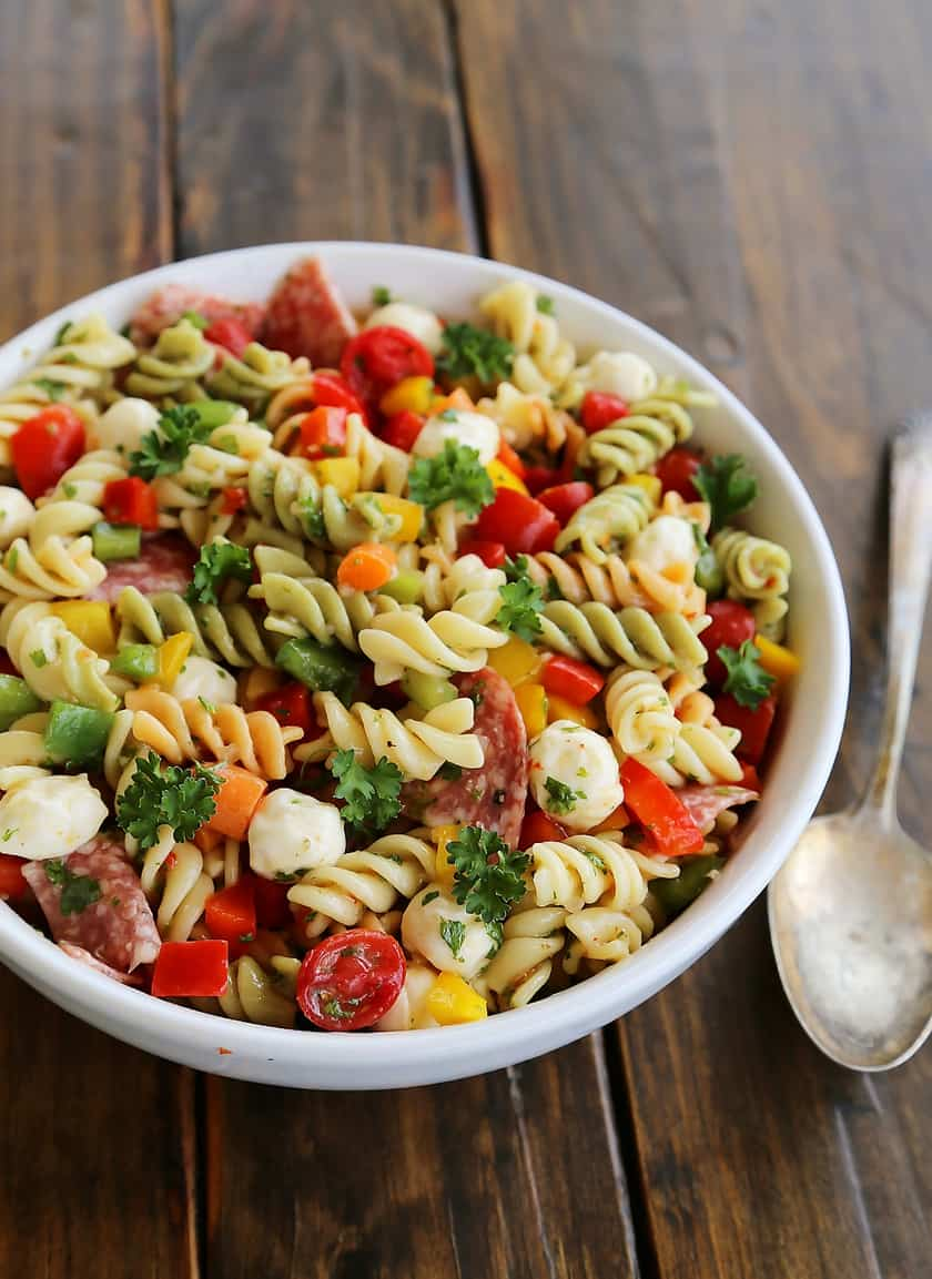easy Italian pasta salad with peppers, carrots, and grape tomatoes