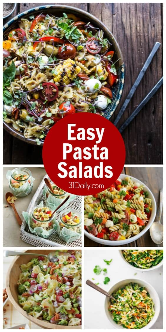 7 Easy Pasta Salad Recipes -- perfect for summer potlucks, family reunions, brunches, block parties, or simply dinner with family on the patio. 31Daily.com