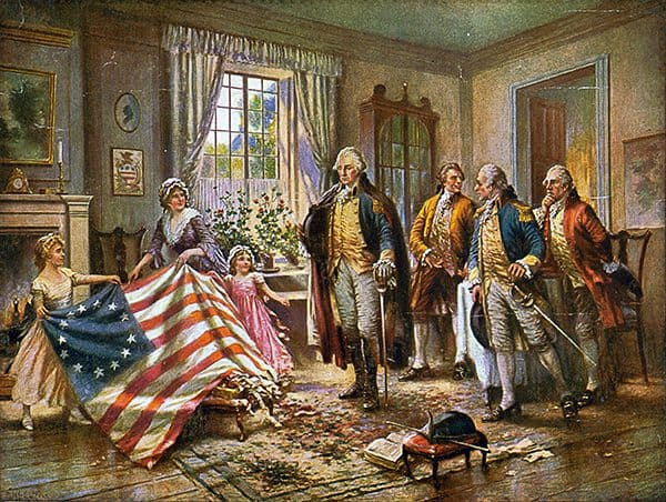 Betsy Ross with George Washington and the First American United States Flag