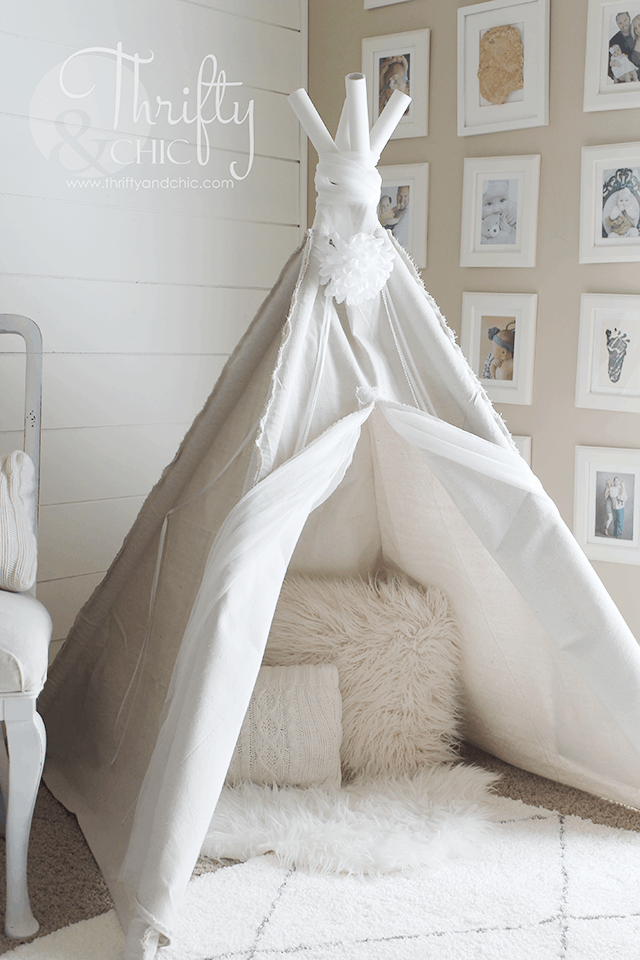 DIY Drop Cloth TeePee for $20 u2014 Thrifty and Chic & DIY Kids Tents and Teepees - 31 Daily