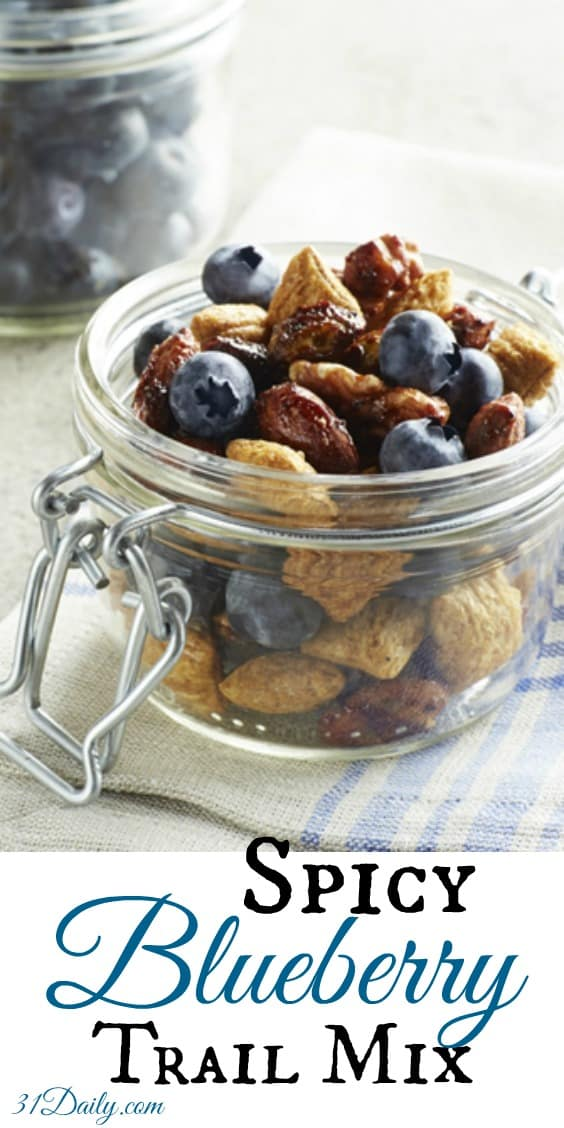 A perfect take along snack, Spicy Blueberry Trail Mix is a healthy choice, will keep you feeling full, and is filled with fiber and antioxidants.