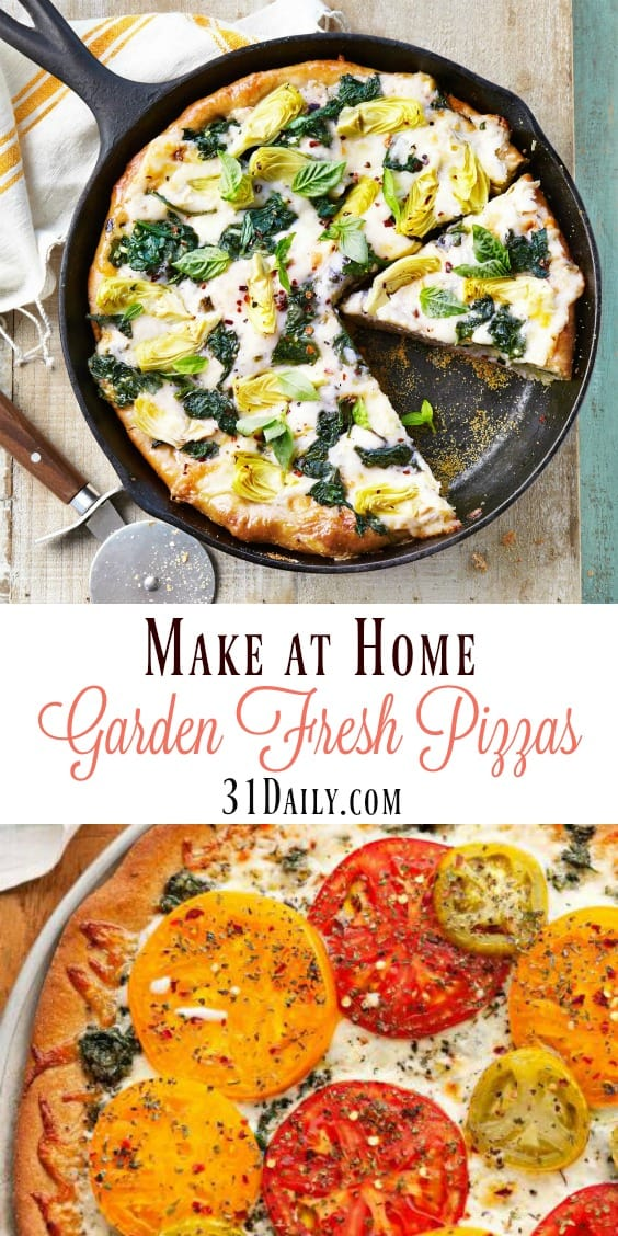 Easy to Make at Home Garden Fresh Pizzas | 31Daily.com