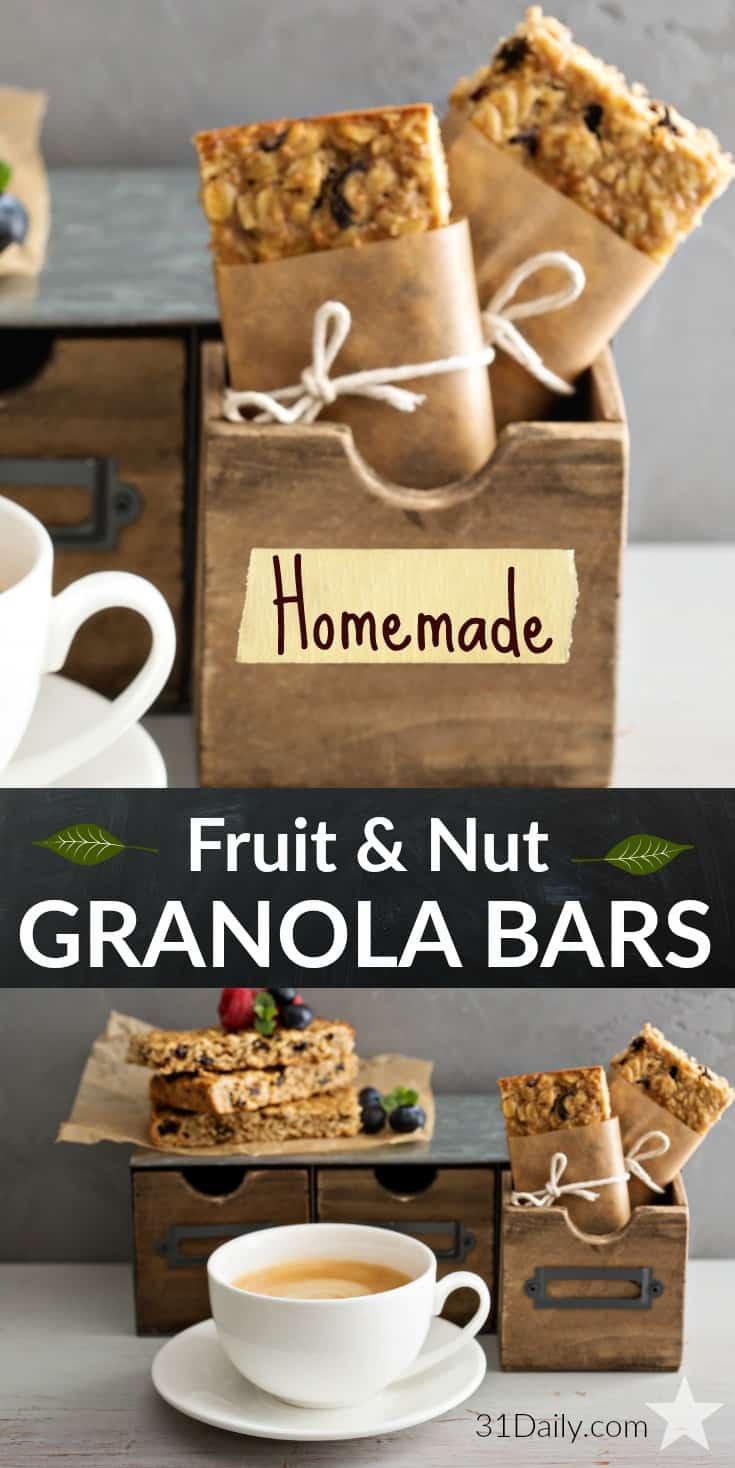 Easy Healthy Homemade Fruit and Nut Granola Bars | 31Daily.com