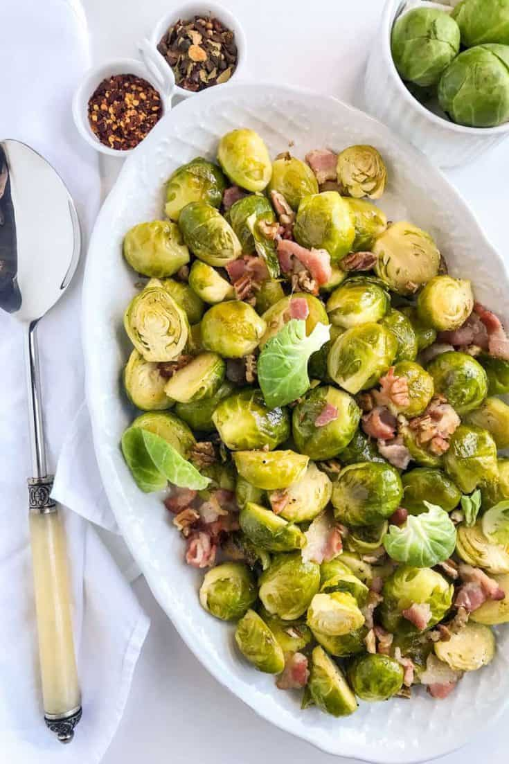 Maple Roasted Brussels Sprouts with Bacon and Toasted Pecans