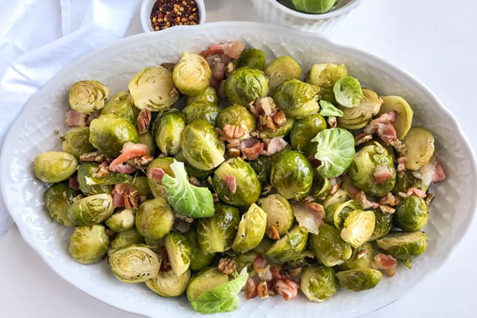 Maple Roasted Brussels Sprouts with Bacon and Toasted Pecans | 31Daily.com