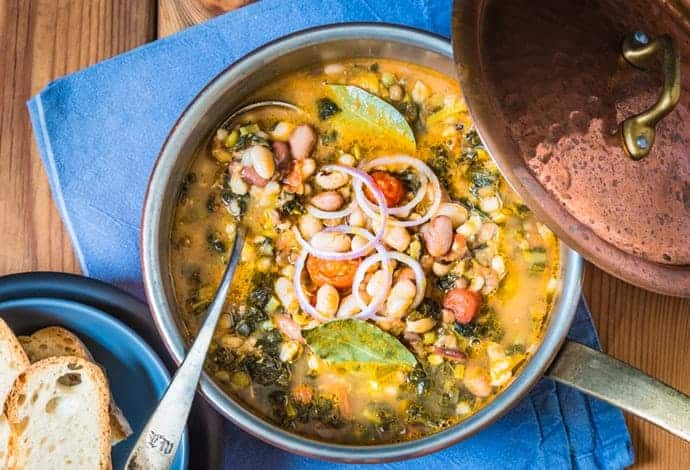 Top View of Ribollita Cooking in a Pot