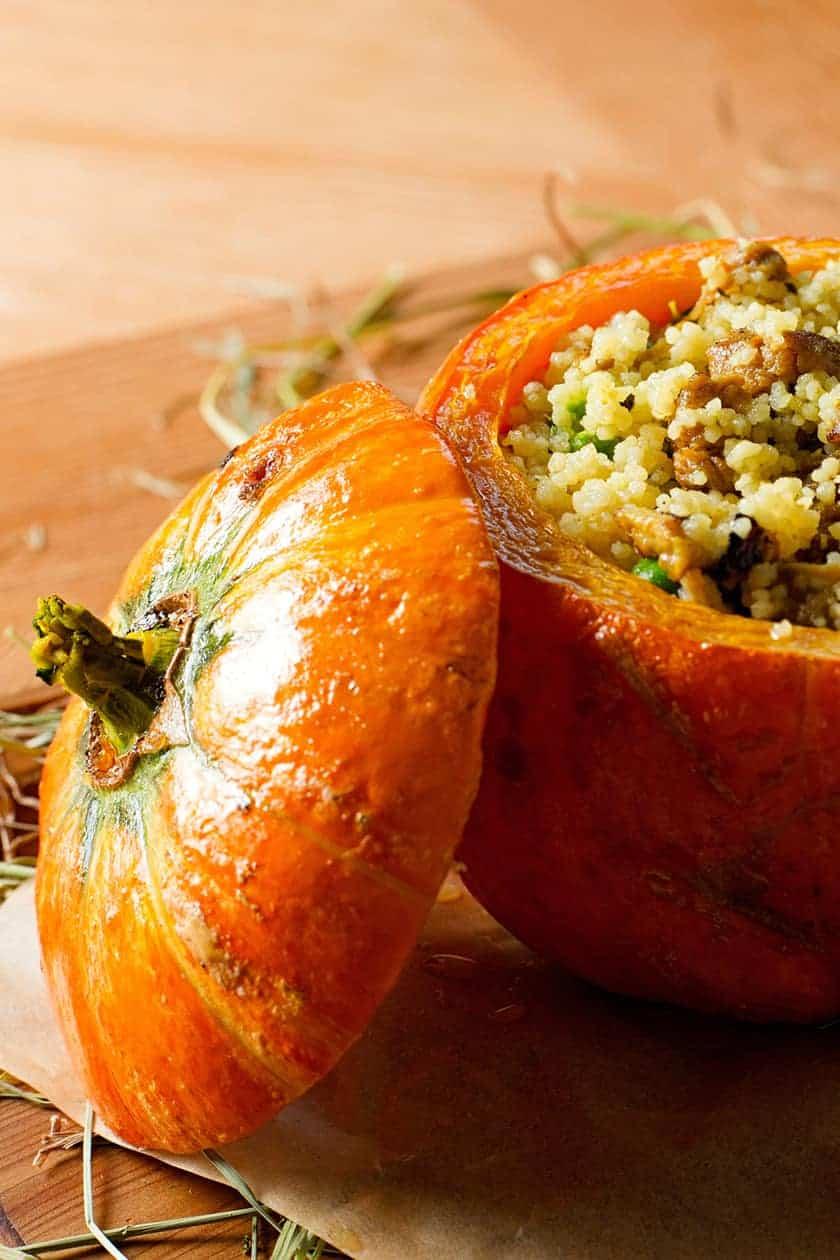 Closeup view of roasted pumpkin