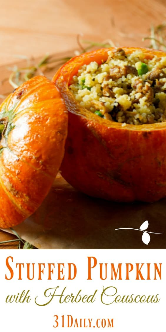 Pumpkin Stuffed with Herbed Apple Couscous   31Daily.com