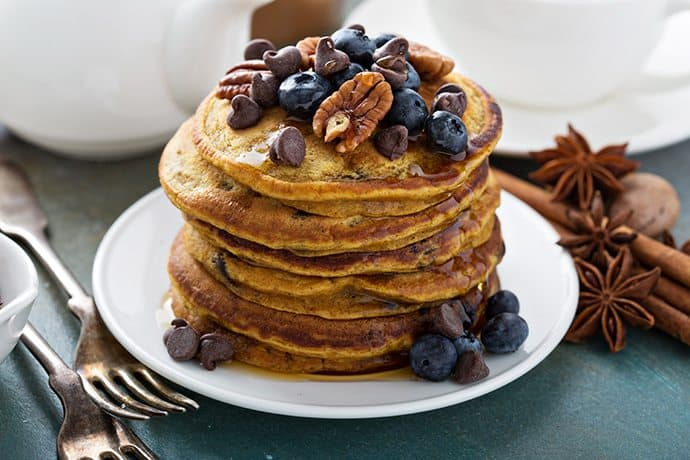 Pumpkin Pancakes with Pecans and Maple Syrup | 31Daily.com