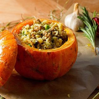 Pumpkin Stuffed with Herbed Apple Couscous | 31Daily.com