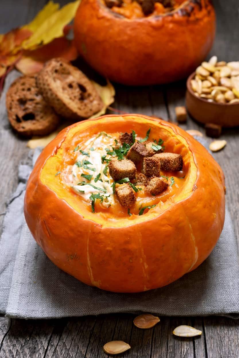 pumpkin curry soup in hollowed out pumpkin