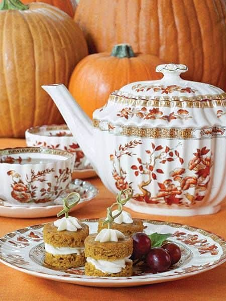 White Teapot with Orange Pumpkins