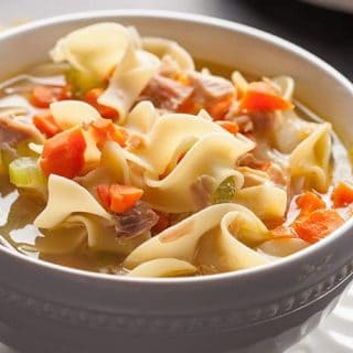 Turkey Vegetable Noodle Soup and Homemade Turkey Stock | 31Daily.com