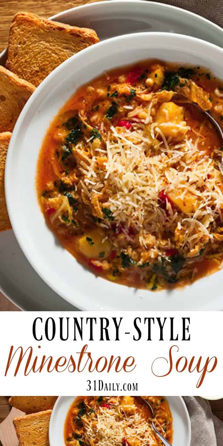 Hearty Country-Style Minestrone Soup with Kale | 31Daily.com