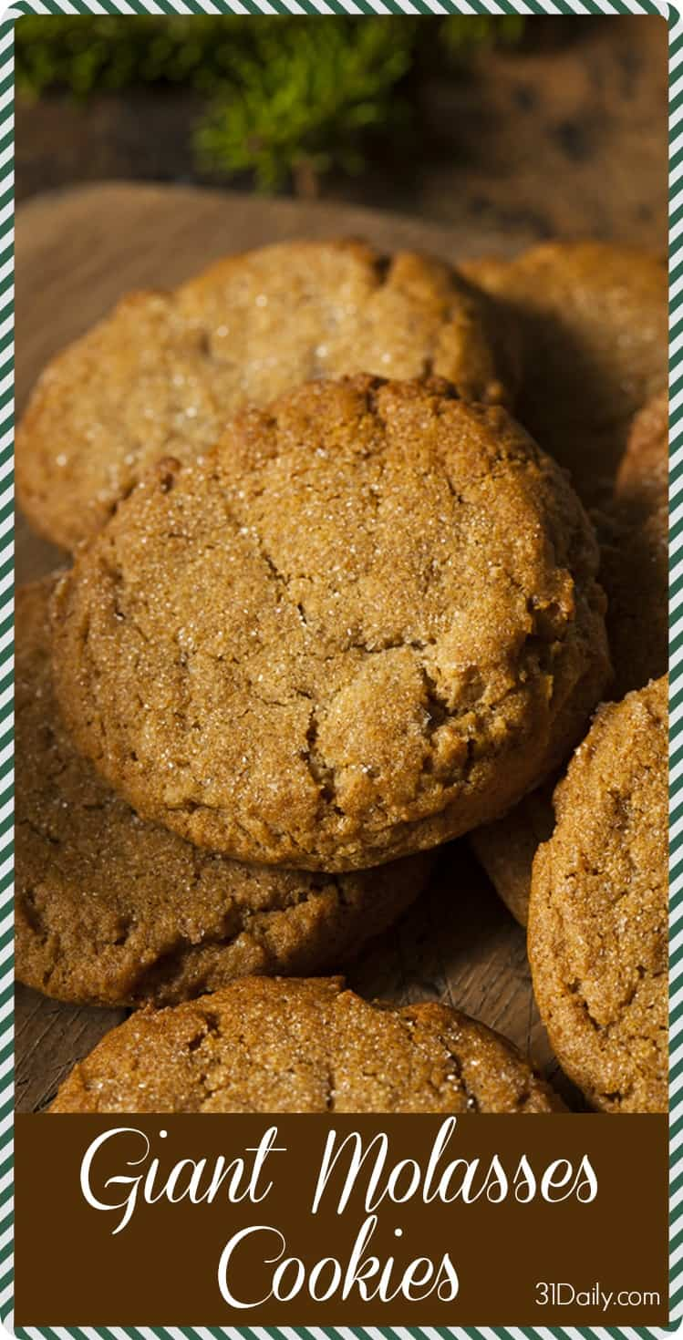 Soft and Chewy Giant Molasses Cookies | 31Daily.com