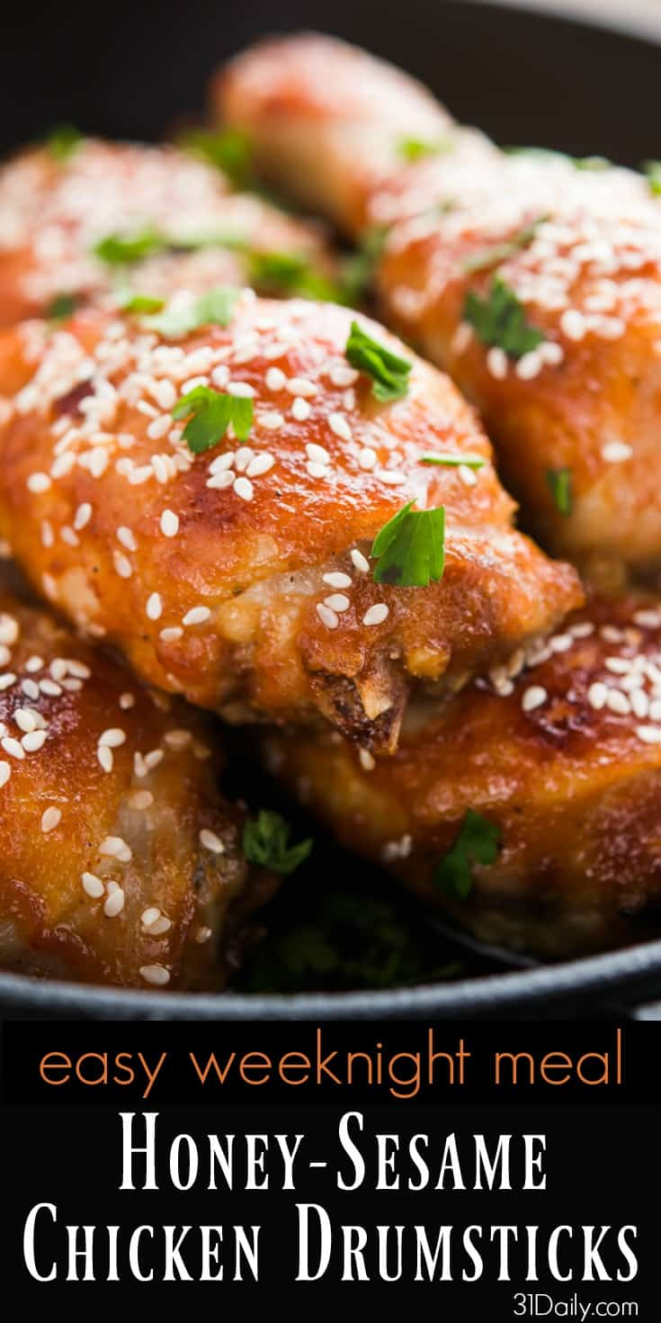 Easy Weeknight Meal: Honey and Sesame Chicken Drumsticks | 31Daily.com