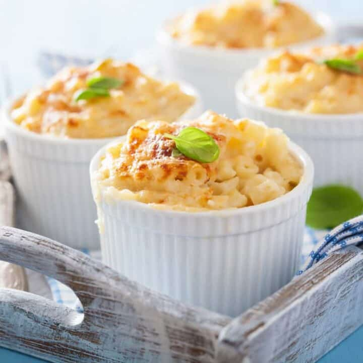 individual baked macaroni and cheese in ramekins