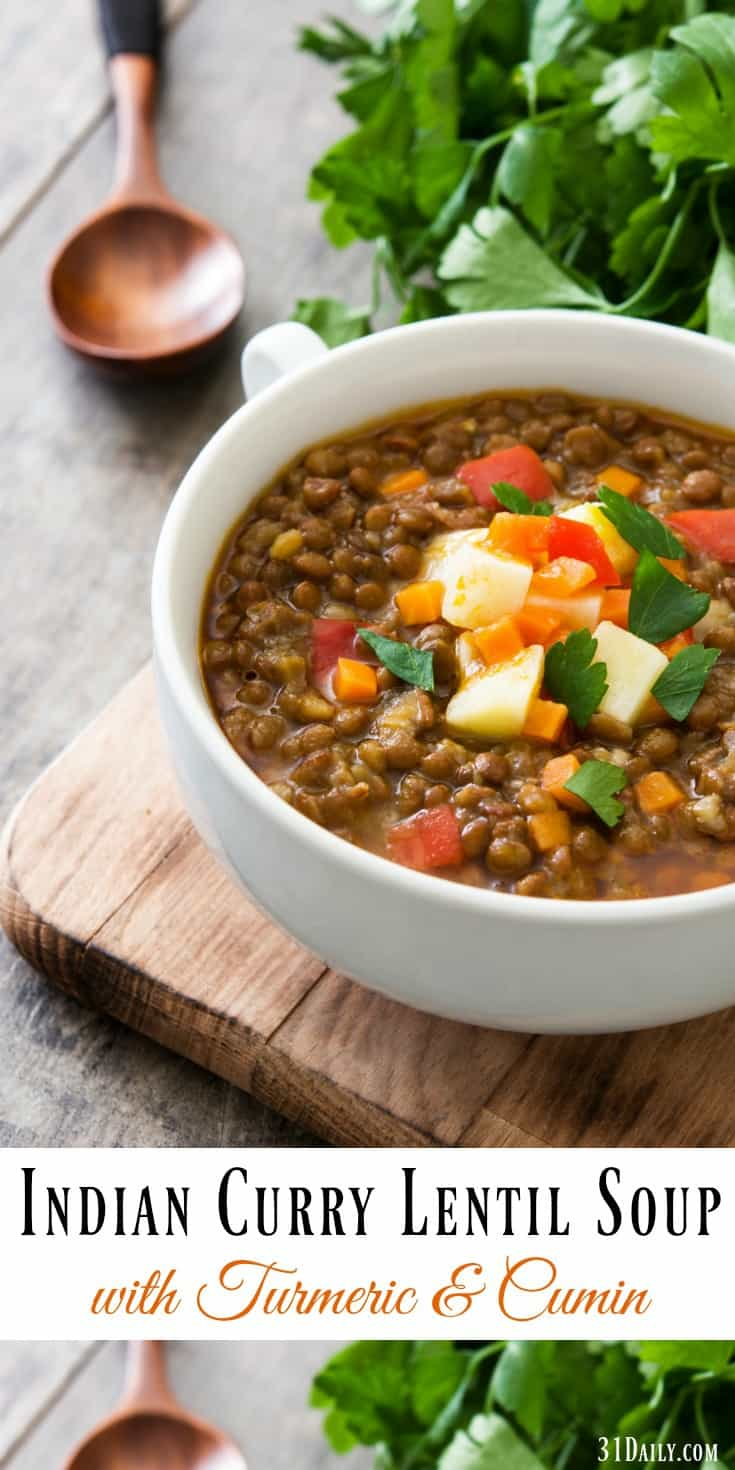 Easy Indian Curry Lentil Soup Recipe with Turmeric and Cumin | 31Daily.com