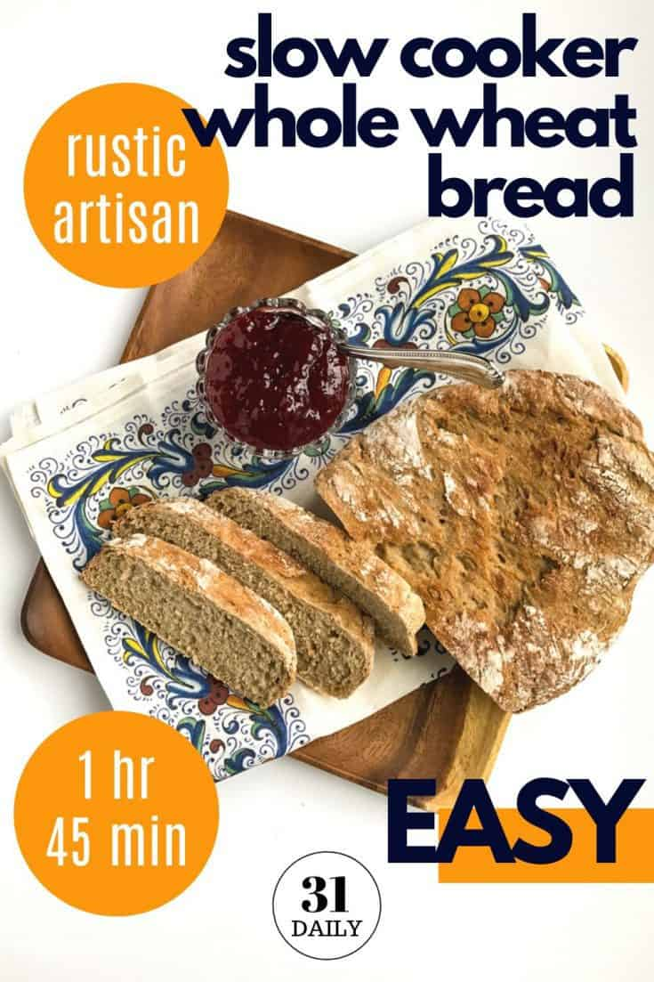 A rustic, artisan slow cooker whole wheat bread with honey that's perfect with soup, stew, or simply toasted with butter and homemade strawberry jam. An easy bread recipe that's healthy, and rises and bakes in the slow cooker. Get the recipe at 31daily.com #slowcookerbread #bread #wholewheatbread #easybreadrecipe #easyrecipe #slowcooker #31daily #artisan