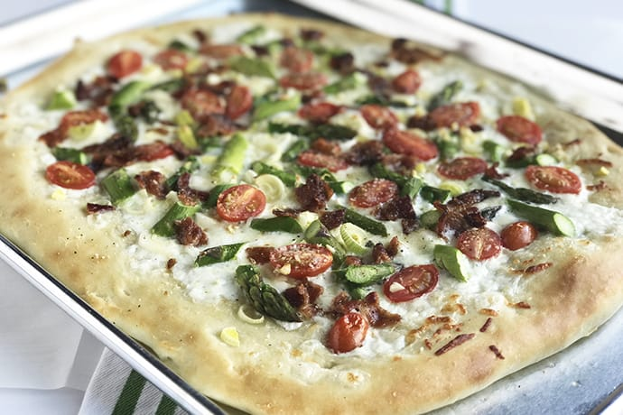 Spring Sheet Pan Pizza with Asparagus, Leeks and Bacon