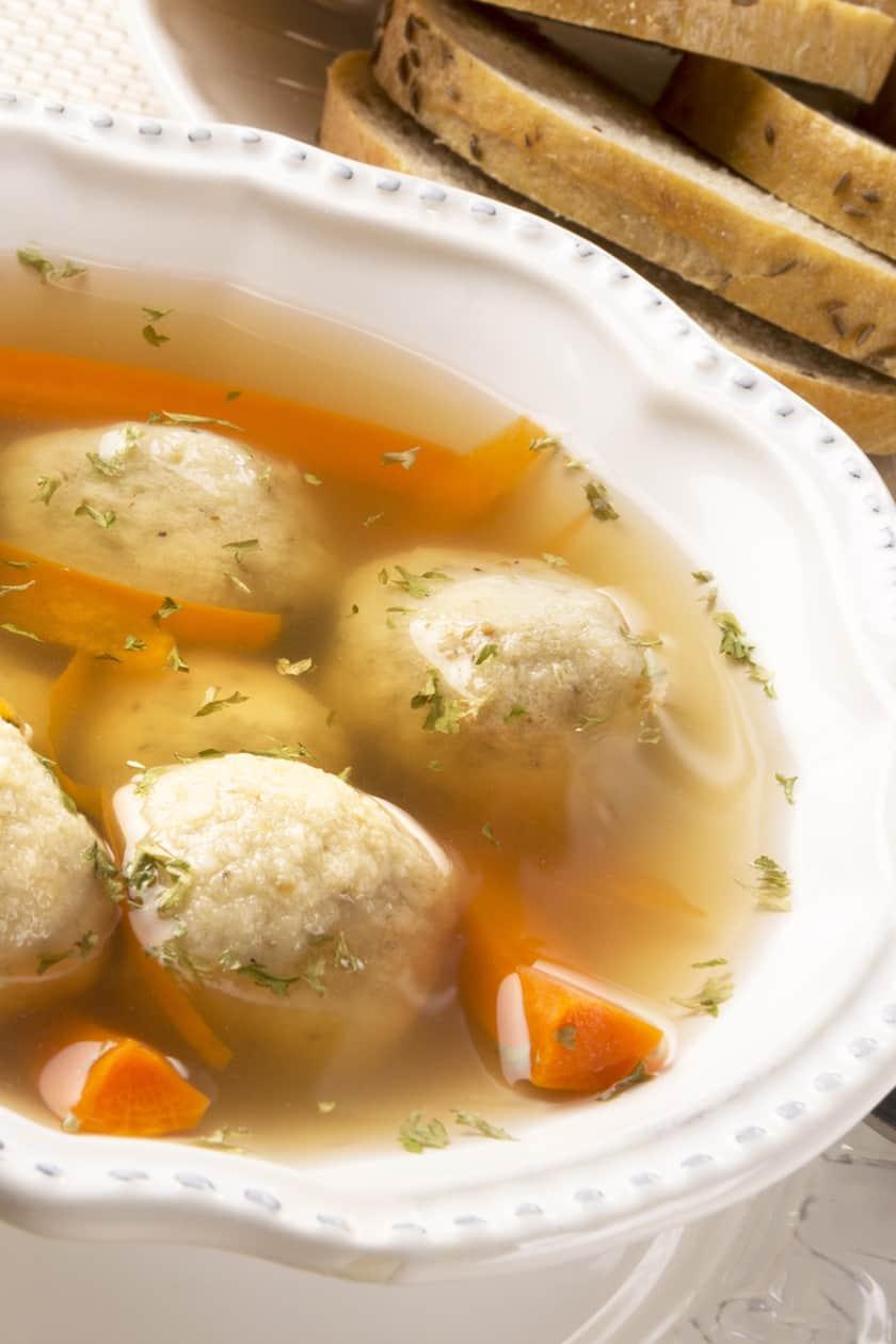 Closeup view of Matzo Ball Soup Recipe