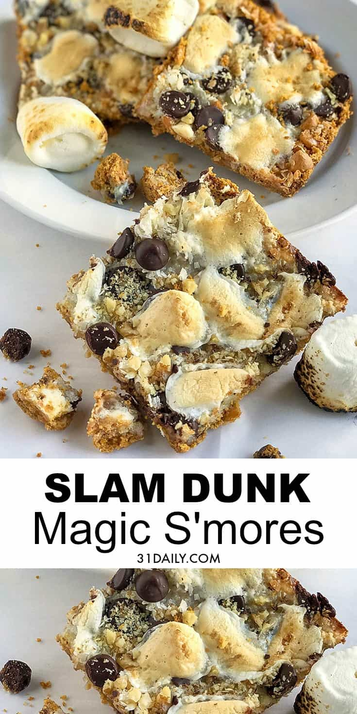 Gooey and Delicious Magic Slam Dunk S'more Bar Cookies | 31Daily.com