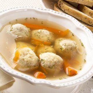 Matzo Ball Soup with Rye Bread