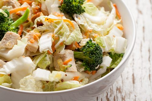 Asian Coleslaw with Chicken, Broccoli and Toasted Almonds | 31Daily.com