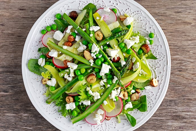 Asparagus Salad with Fresh Greens, Peas and Goat Cheese