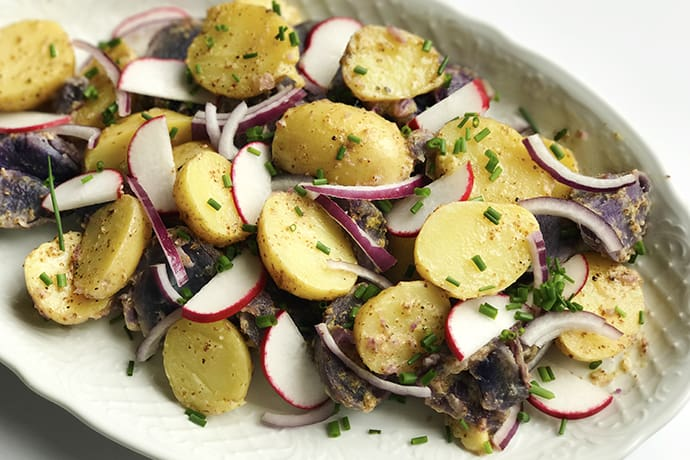 A Color Packed Potato Salad with Mustard Vinaigrette