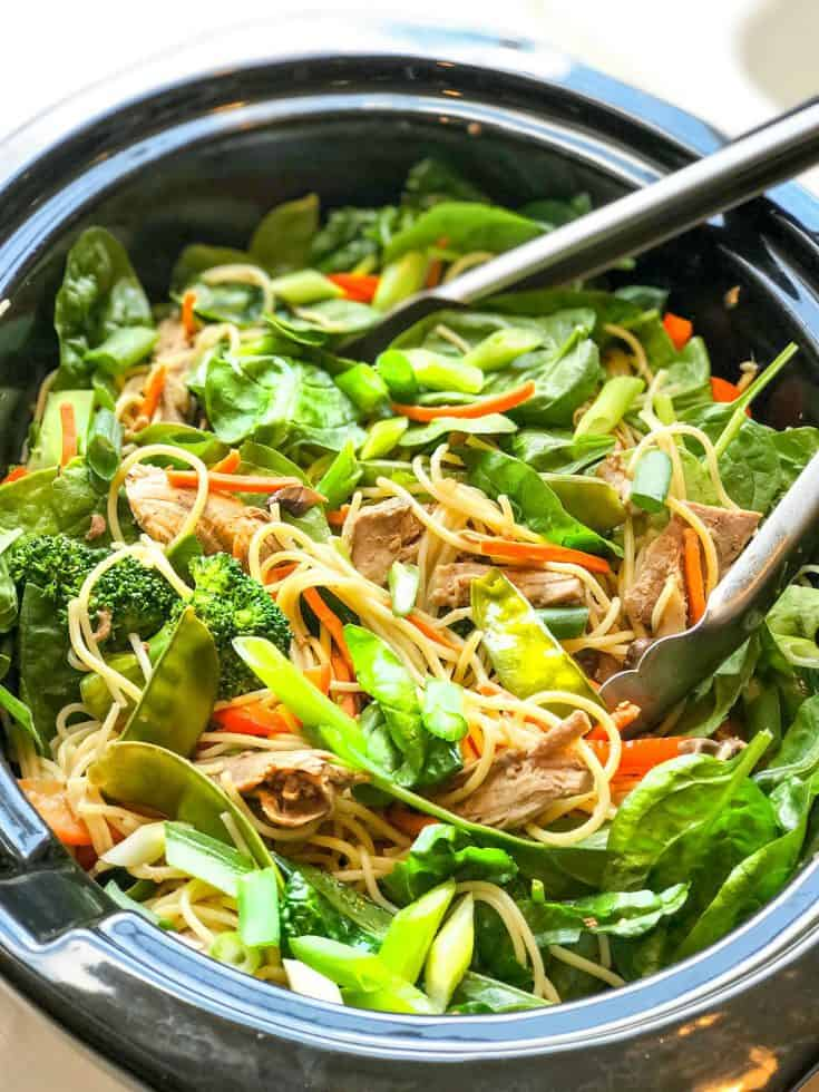 Easy and Healthy Slow Cooker Pork Lo Mein with Veggies