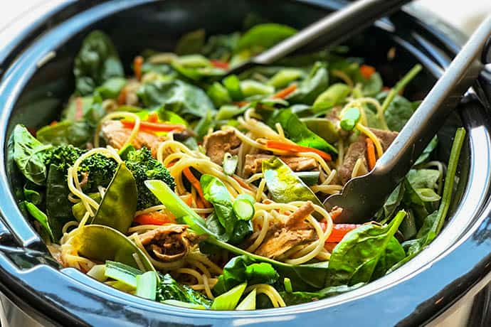 Easy and Healthy Slow Cooker Pork Lo Mein with Veggies | 31Daily.com