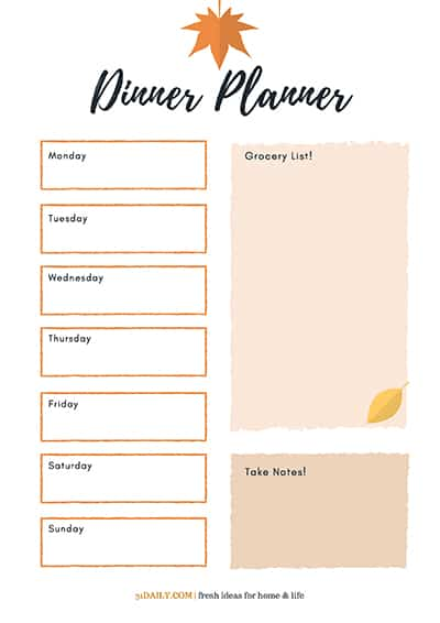 Dinner Planning Basics with a Fall Menu Printable | 31Daily.com