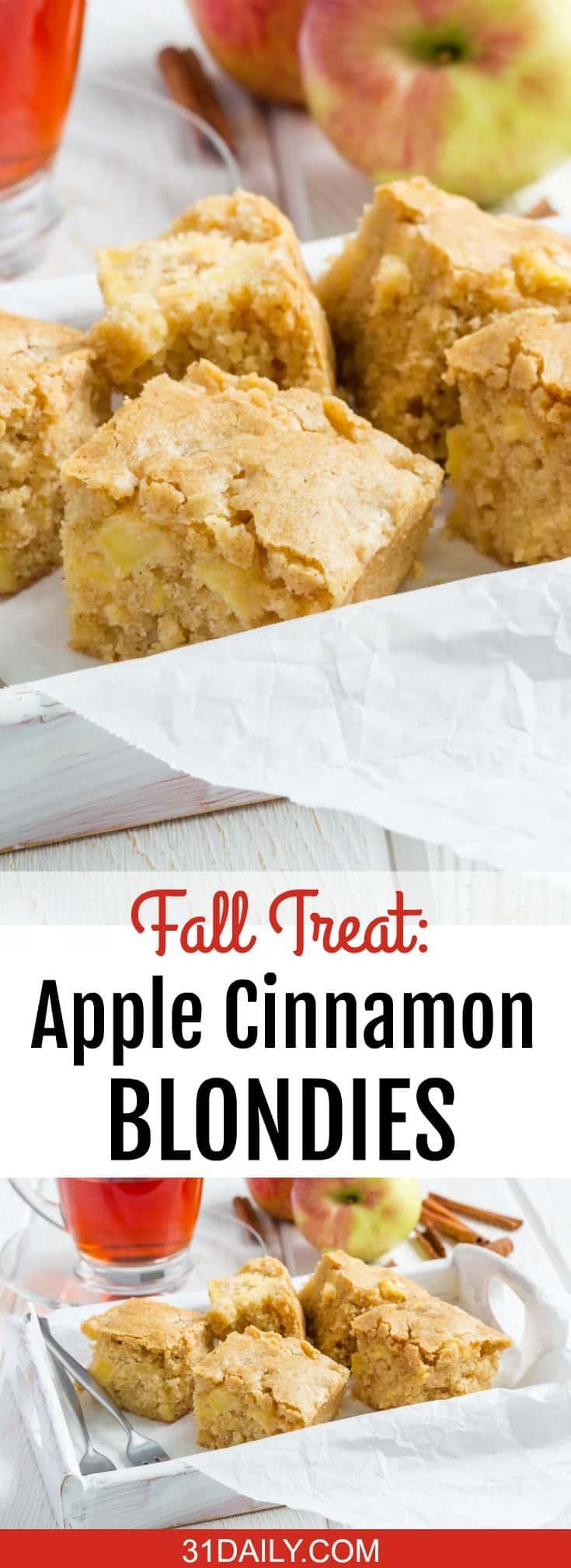 Apple Cinnamon Blondies Recipe | A Perfect Fall Treat | 31Daily.com