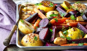 Roasted Fall Vegetables with Maple, Thyme and Apple
