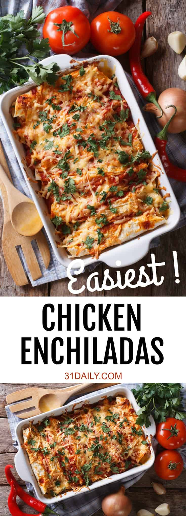 Easiest Chicken Enchiladas Ever with Leftover Chicken | 31Daily.com
