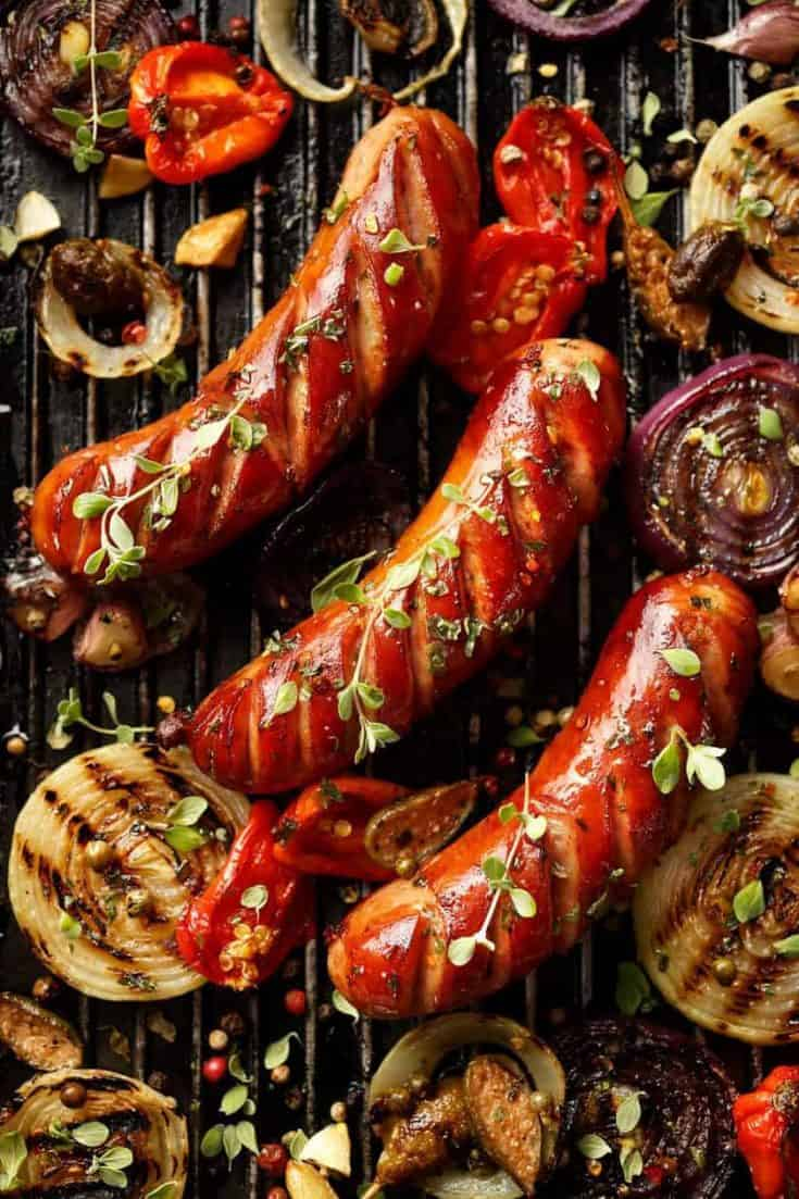 Grilled Sausage with Peppers, Onions and Herbs
