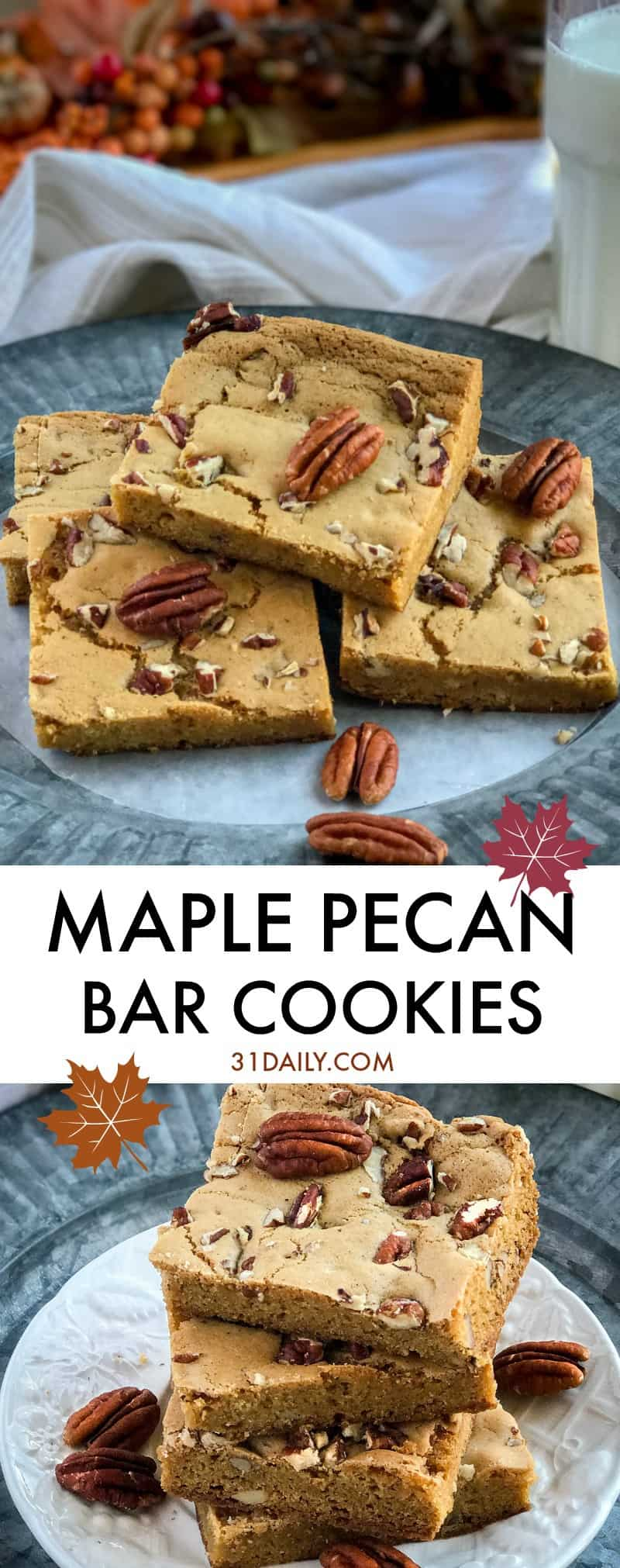 Vermont Maple Pecan Bar Cookies | 31Daily.com