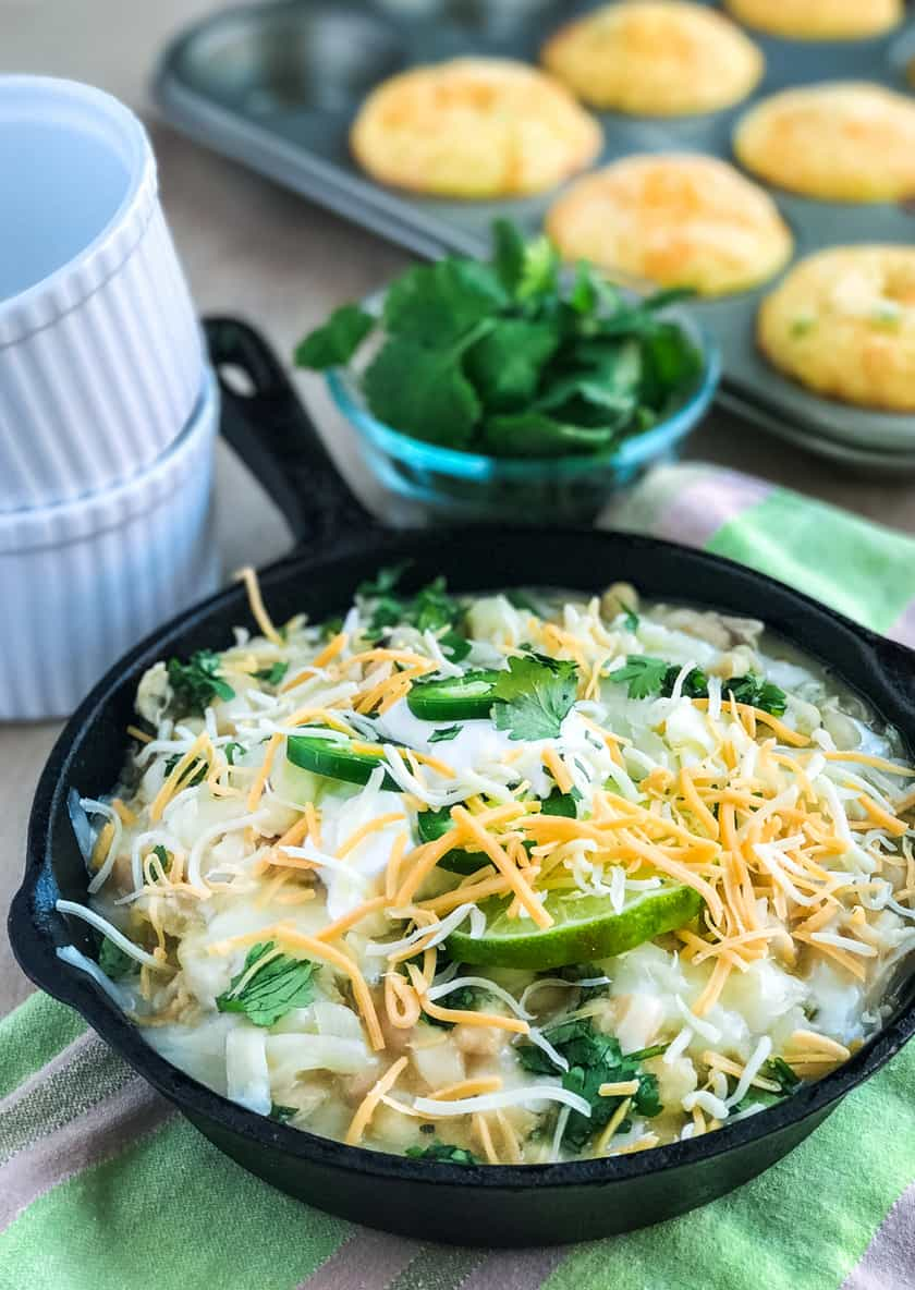 White Chicken Chili with Thai Basil and Cilantro with Chopped Parsley and Corn Muffins