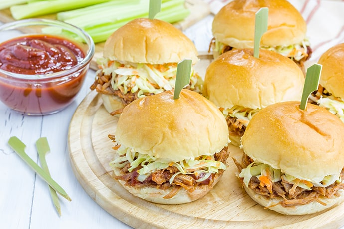Slow Cooker BBQ Pulled Chicken Sliders