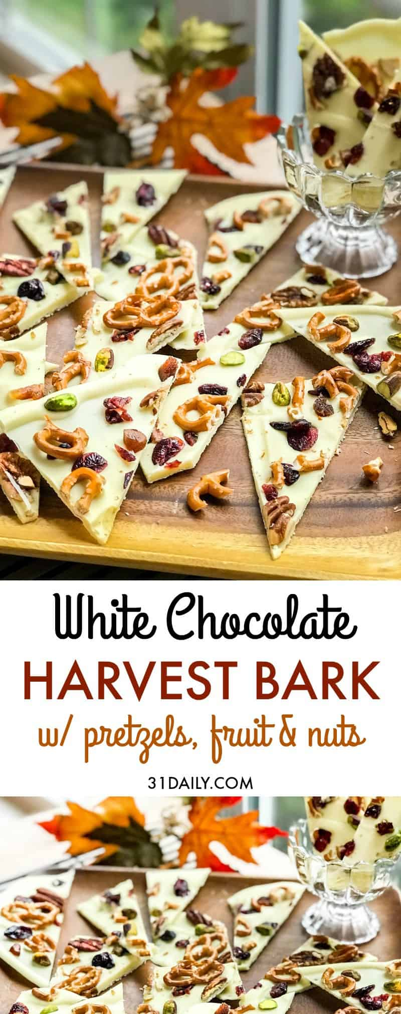 Harvest White Chocolate Bark with Pretzels, Fruits and Nuts   31Daily.com