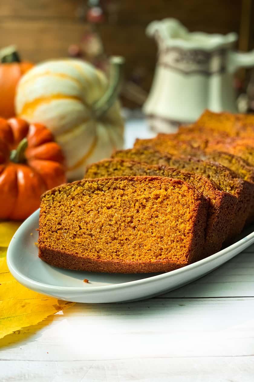 Verticle view of pumpkin bread