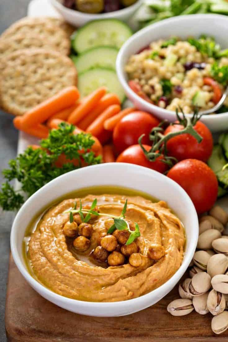 Quick Roasted Red Pepper Hummus Dip