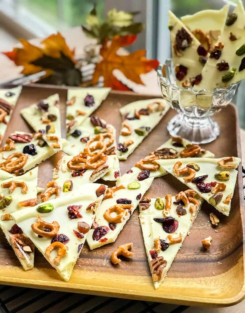 Harvest White Chocolate Bark with Pretzels, Fruits and Nuts | 31Daily.com