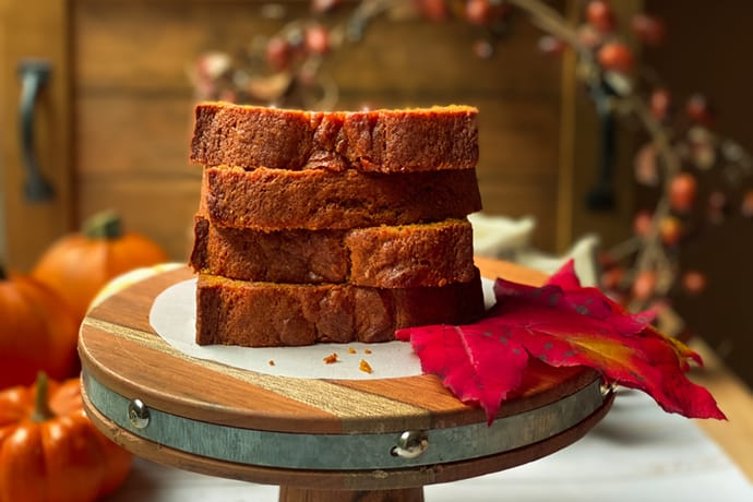 Sliced and Stacked Pumpkin Bread